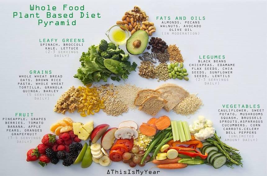 全素健康饮食金字塔(Whole food plant based diet pyramid)